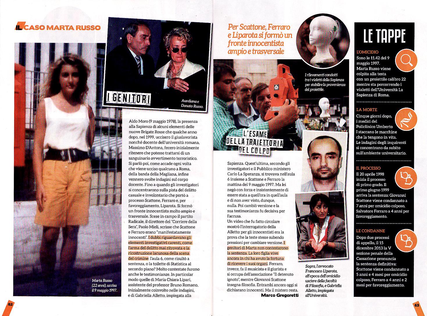 Il delitto Marta Russo sul numero otto di Quarto Grado Magazine